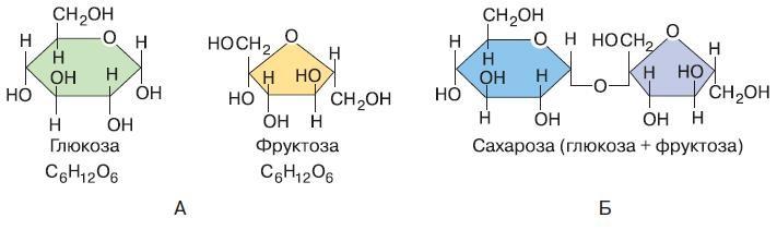 Глюкоза, фруктоза, сахароза